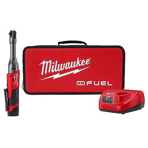 Milwaukee Tool M12 FUEL 12V Li-Ion Brushless Cordless 1/4 in. Extended Reach Ratchet Kit with One 2.0 Ah Battery