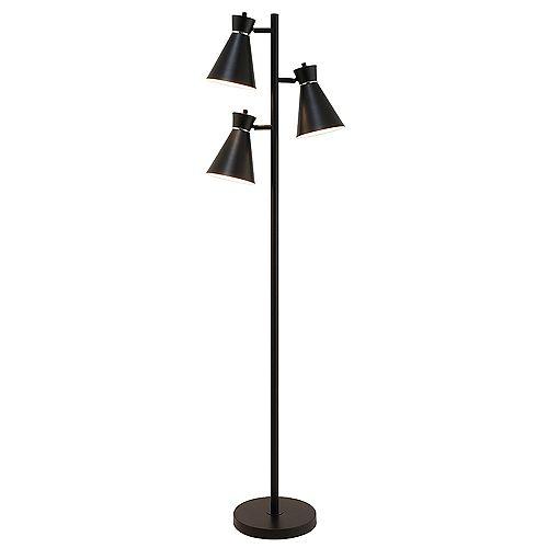 Design Solutions International 3-Light Matte Black Floor Lamp with Chrome Accents