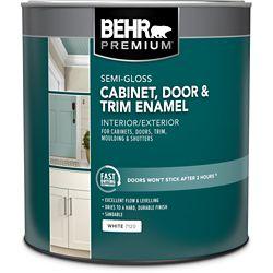 BEHR PREMIUM Cabinet & Trim Interior Semi-Gloss Enamel Paint - White Base, 946 ML
