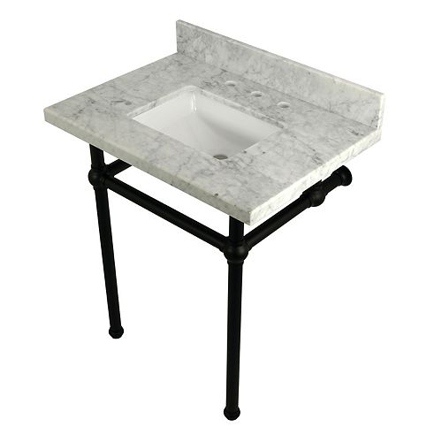 Kingston Brass Square Sink Washstand 30 in. Console Table in Carrara with Metal Legs in Matte Black