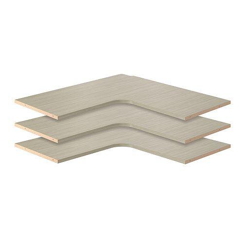 Closet Evolution 30 in. Corner Shelves in Rustic Grey (3-Pack)