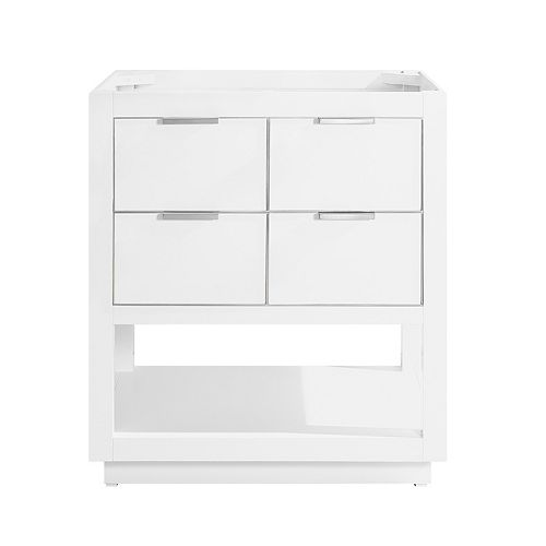Avanity Allie 30 inch Vanity Only in White with Silver Trim