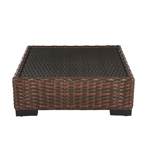 Hampton Bay Commercial Dark Brown Square Wicker Glass Top Outdoor Coffee Table