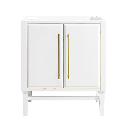 Avanity Mason 30 inch Vanity Only in White with Gold Trim