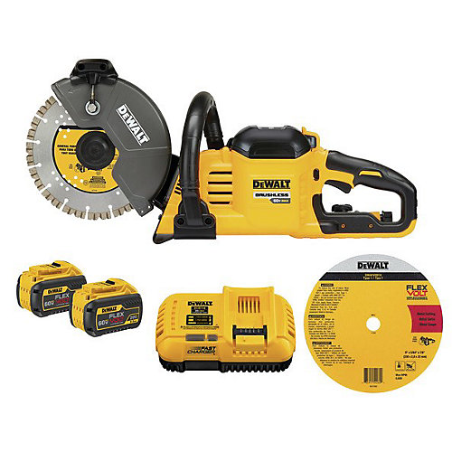 60V MAX FLEXVOLT 9-INCH CUT-OFF SAW W/ 2 BATTERIES (9AH), CHARGER