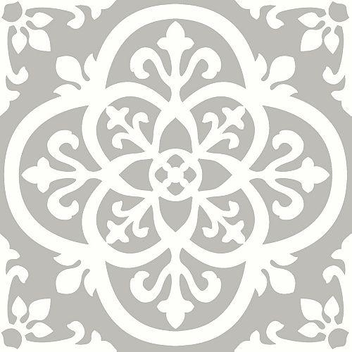 FloorPops Revêtement de sol en feuilles de vinyle Medina Peler et Coller de 12 po x 12 po (20 pi2 par caisse)