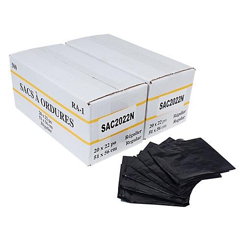 "Commercial Garbage / Trash Bags - Regular - 20"" x 22"" (50.8 cm x 55.8 cm) - Black - 2 Boxes of 500"