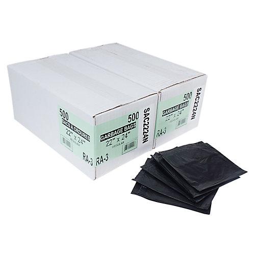 "Commercial Garbage / Trash Bags - Regular - 22"" x 24"" (55.8 cm x 60.9 cm) - Black - 2 Boxes of 500"