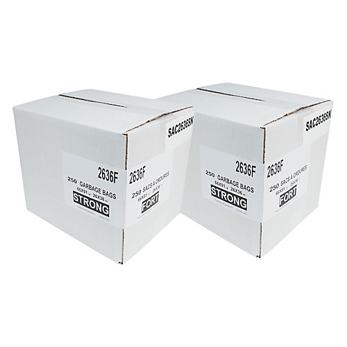 """Commercial Garbage/Trash Bags - Extra Strong - 26"""" x 36"""" (66 cm x 91.6 cm) - Black - 2 Boxes of 200"""