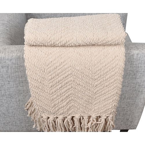 "Battilo Home Boon Knit Zig-Zag Textured Woven Throw/Blanket, Large 56""x90"", Beige"