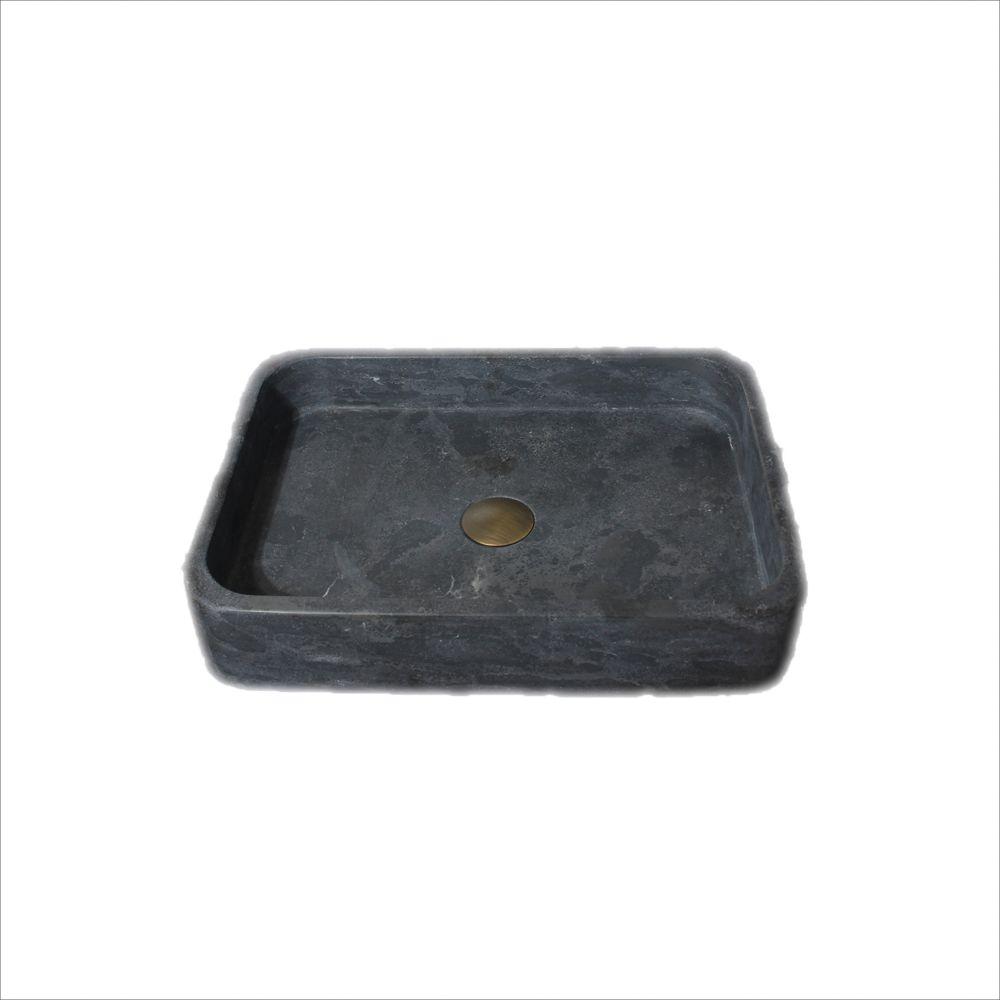 Thalia 19-11/16-in Stone Vessel Rectangular Sink Basin in Black