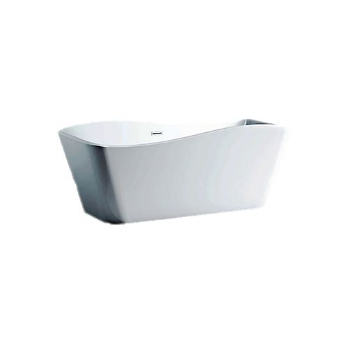 A&E Bath and Shower Jhin 5.6-ft. Acrylic Free-Standing Rectangular Bathtub with Center Drain in White
