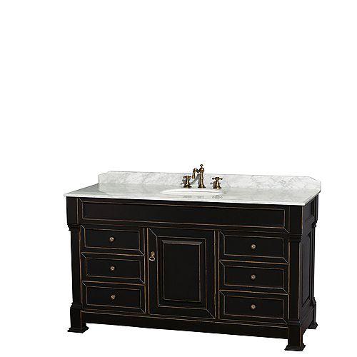 Wyndham Collection Meuble-lav. simple Andover, compt. marbre de Carrare blanc, lavabo ovale, sans miroir, 60 po, noir