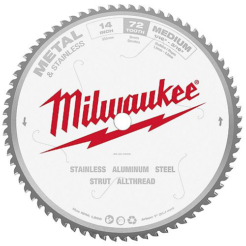 Milwaukee Tool 14-inch 72 Teeth Dry Cut Carbide Tipped Circular Saw Blade