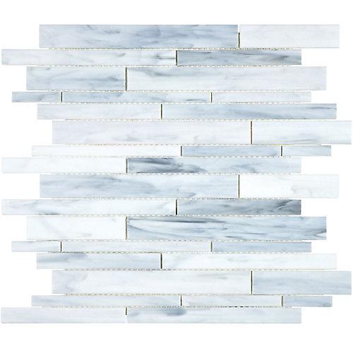 Mosaïque de verre teinté Barolo Artic à bandes aléatoires (15 pi.ca. /boîte)
