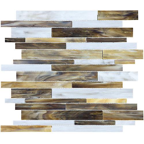 Mosaïque de verre teinté Barolo Wheat à bandes aléatoires (15 pi.ca. /boîte)
