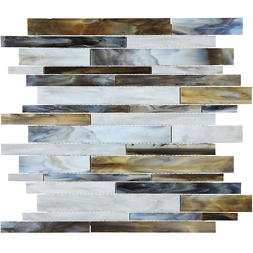 Mosaïque de verre teinté Barolo Bark à bandes aléatoires (15 pi.ca. /boîte)
