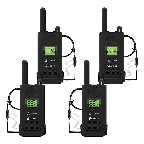 Cobra Pro MicroTALK 23-Mile, 22 Channel FRS/GMRS 2 Way Radios with Surveillance Headsets -4 Pack