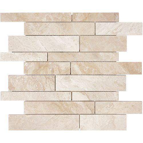 Enigma Rosario 12-inch x 12-inch Random Strips Polished Marble Mosaic Tile (10 sq.ft. / case)
