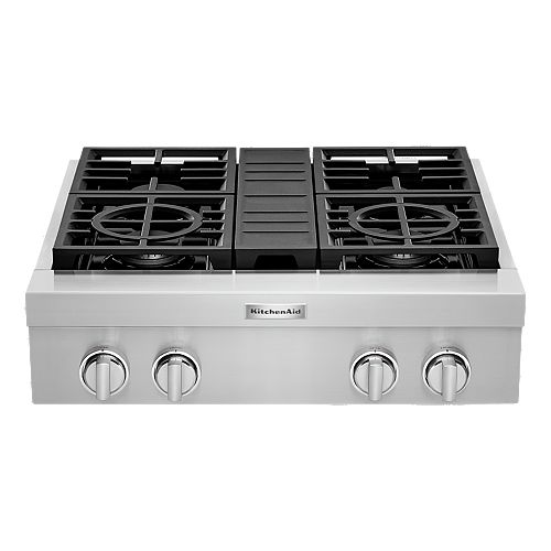 KitchenAid 30-inch Gas Commercial Cooktop with 4-Burners in Stainless Steel