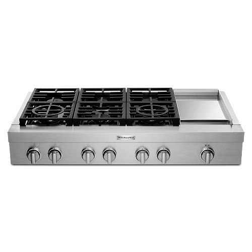 KitchenAid 48-inch Gas Commercial Cooktop with 6-Burners in Stainless Steel
