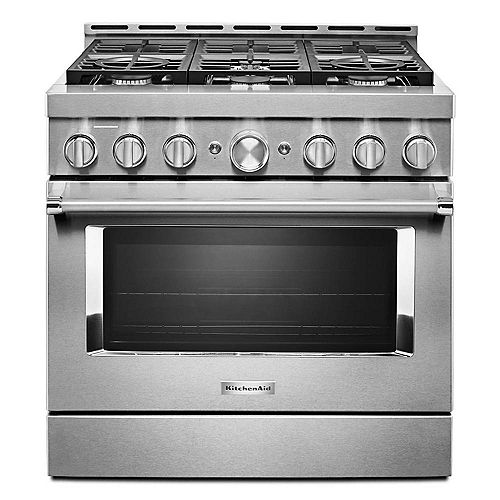 KitchenAid 36-inch 5.1 cu. ft. Smart Commercial-Style Gas Range with Self-Cleaning and True Convection in Stainless Steel