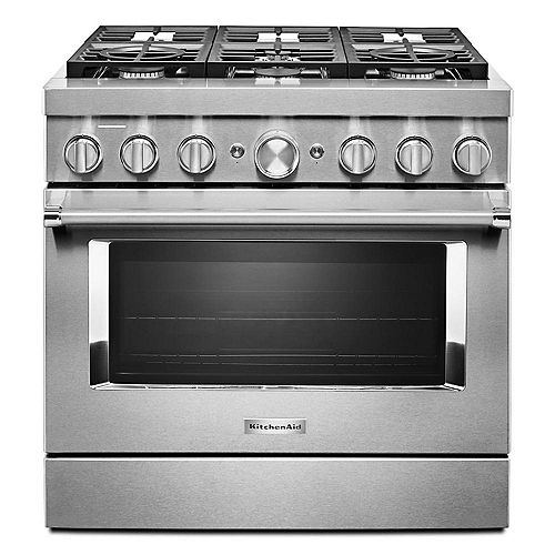 KitchenAid 36-inch 5.1 cu. ft. Smart Dual Fuel Range with True Convection and Self- Cleaning in Stainless Steel