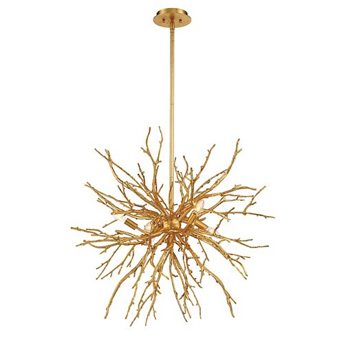 Eurofase Aberdeen 6-Light Gold Leaf Chandelier with Gold Shade