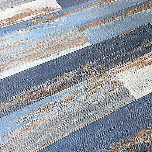 Deco Products COLORS Floor-Wall Old Blue Sea Aged 6-inch x 36-inch Painted Style Luxury Vinyl Plank (30 sq. ft./ case)