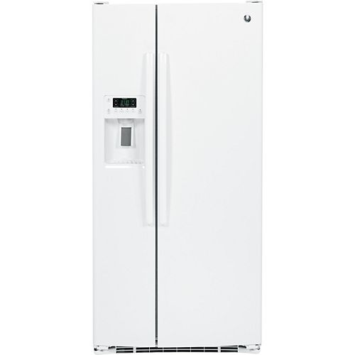 GE 23.2 Cu. ft. Side-by-Side Refrigerator with Dispenser in White