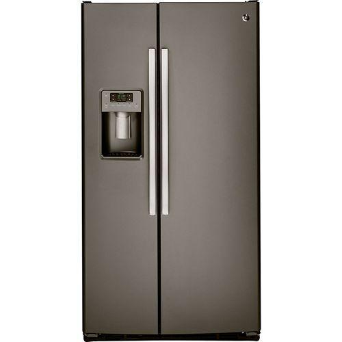 GE 23.2 cu. ft. Side by Side Refrigerator, Fingerprint Resistant in Slate