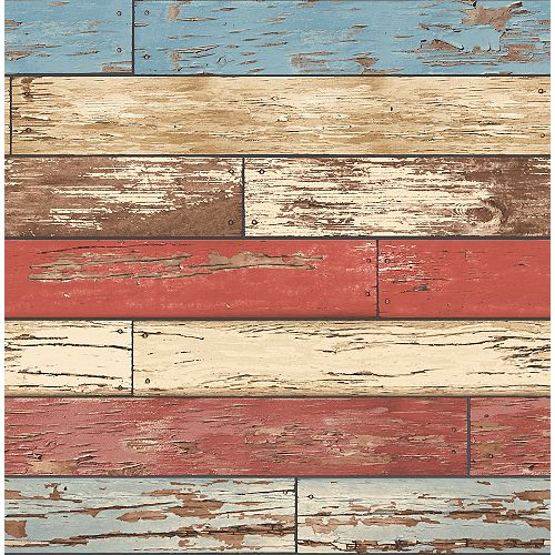 Brewster Home Fashions Levi Red Scrap Wood Wallpaper