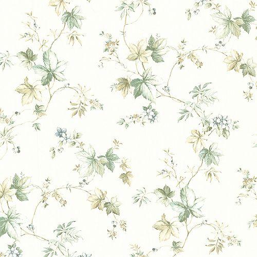 Brewster Home Fashions Lamott Green Satin Leaf Trail Wallpaper