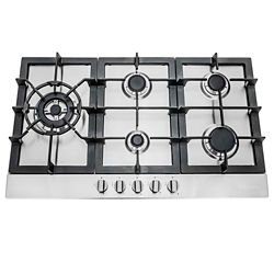 Cosmo 30 in. Gas Cooktop in Stainless Steel with 5 Sealed Brass Burners