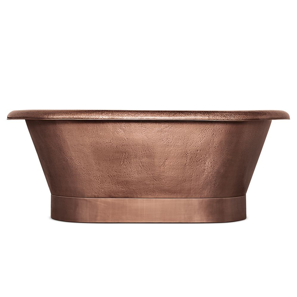 Thales 60 in. Copper Freestanding Bathtub with Overflow 2-Hole Faucet Deck in Antique Copper