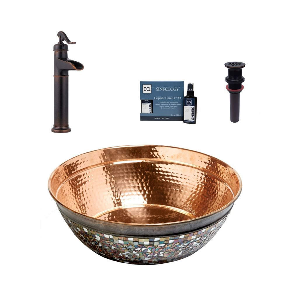 Bardeen All-In-One Vessel Copper Bath Sink Design Kit with Pfister Ashfield Faucet and Drain