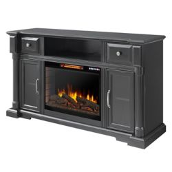 "Pleasant Hearth Vermont 60"" Media Electric Fireplace with Bluetooth - Aged Black Finish"
