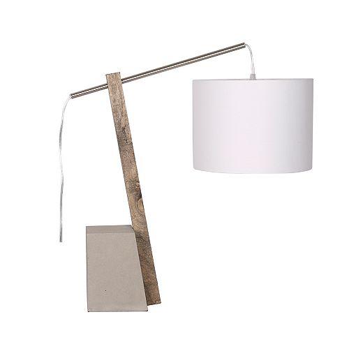 "L2 Lighting 21.5"" Wood/Cement Arc Table Lamp"