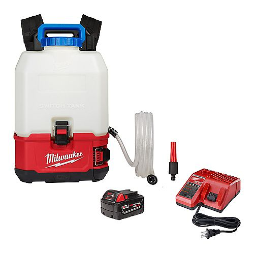 Milwaukee Tool M18 18V 4 Gal. Li-Ion Cordless Switch Tank Backpack Water Supply Kit with 3.0 Ah Battery and Charger