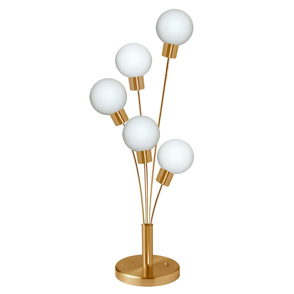 Dainolite 5 Light Incandescent Table Lamp Aged Brass Finish with White Glass
