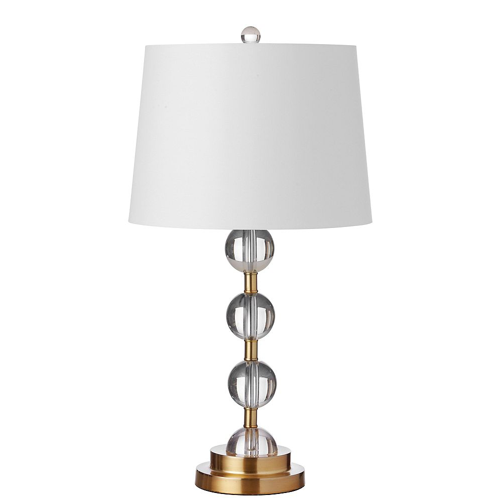 Dainolite 1 Light Incandescent Crystal Table Lamp Aged Bronze Finish with White Shade