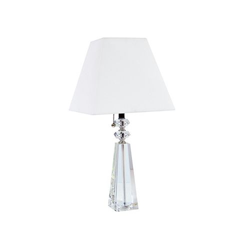 Dainolite 1 Light Crystal Table Lamp, Polished Chrome Finish, White Sharp Corner Square Shade