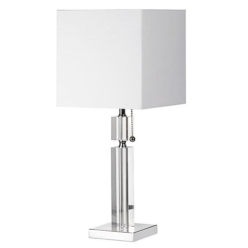 Dainolite Crystal Table Lamp, Polished Chrome, Square White Linen Shade