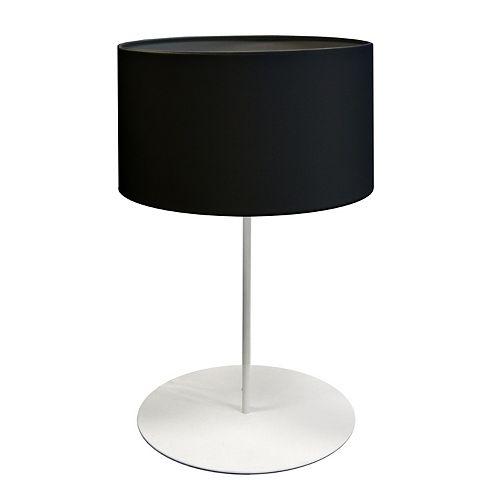 Dainolite 1 Light Drum Table Lamp with Black Shade