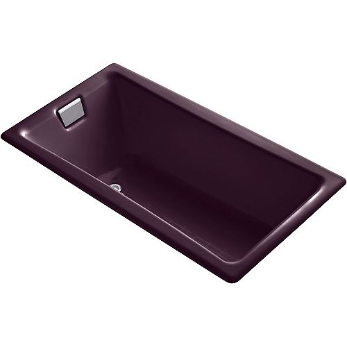 KOHLER Tea-For-Two 60-inch X 32-inch Drop-in Bath with Reversible Drain in Black Plum