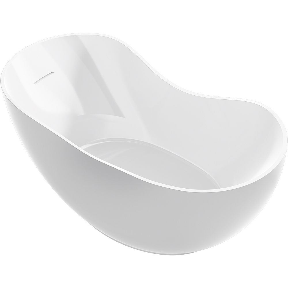KOHLER Abrazo 66-inch X 32-inch Freestanding Bath with Center Toe-Tap Drain