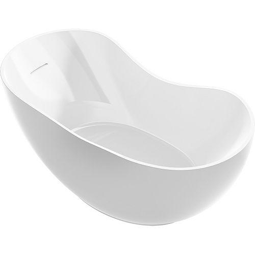 KOHLER Abrazo 66-inch X 32-inch Freestanding Bath with Center Toe-Tap Drain