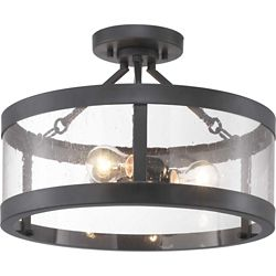 Progress Lighting Gresham Three-Light Semi-Flush Convertible with Clear Seeded glass