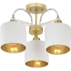 Progress Lighting Rigsby Three-Light Semi-Flush Convertible with White Shade