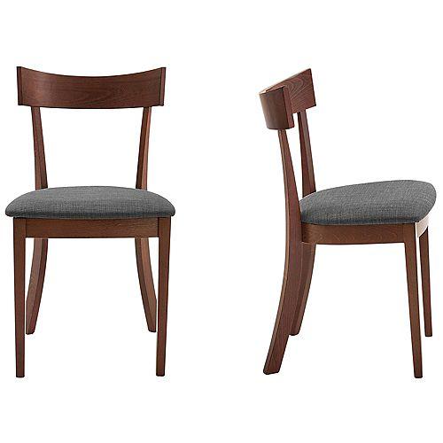 !nspire Side Chair-Set of 2, Walnut/Grey